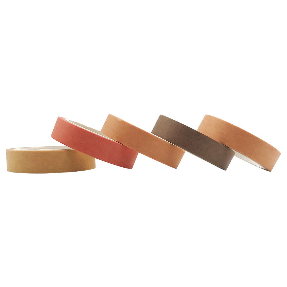 Solid Color Washi Tapes Set EnYan 5 Rolls Basic Collection Decoration 10mm Wide Japanese Masking Decorative Tapes for Bullet Journal Planners DIY Crafts Arts Scrapbooking Adhesive