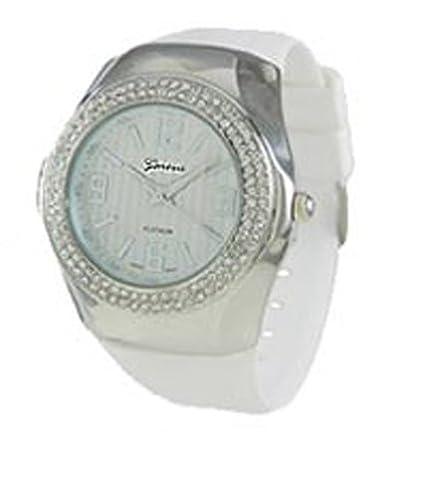Geneva CZ encirlced carcasa de metal reloj WHITE-SILVER: Amazon.es: Relojes