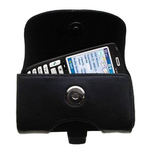 Gomadic Brand Horizontal Black Leather Carrying Case for the Audiovox SMT 5600 with Integrated Belt Loop and Optional Belt Clip