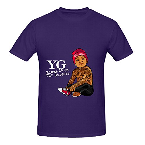 Yg Blame It On The Streets Rock Men Crew Neck Design T Shirt Purple (Porta Collares)
