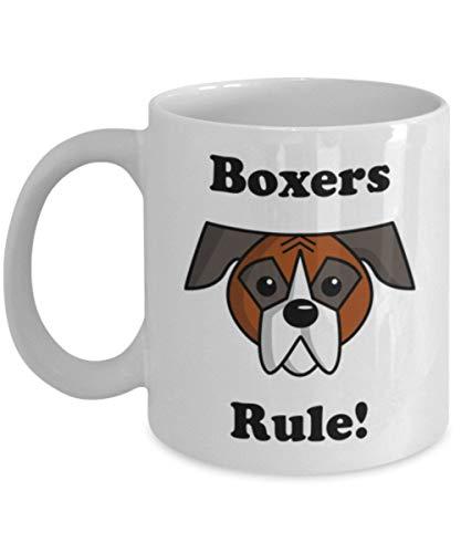 Boxers Rule Mug, Gift for Boxer Mom, Boxer Lovers, Novelty Dog Mug 11 oz. Ceramic Coffee Mug, Funny Cartoon Boxer Coffee Mug