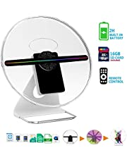 【New 256 PCS LED-Mounted & Portable】3D Hologram Fan Digital Holographic Display Photo/512P HD Video at Home,Office,Entertainment and Shops,Remote Control 160 Degree Wide Viewing Angle,iDiskk【12inch】