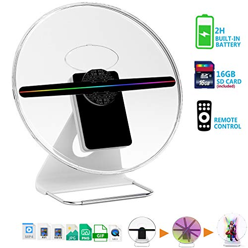 【256 PCS LED-Mounted & Portable】3D Hologram Fan Digital Holographic Display Photo/512P HD Video at Home,Office,Entertainment and Shops,Remote Control 160 Degree Wide Viewing Angle,iDiskk【12inch】 (Holographic Display 3d)