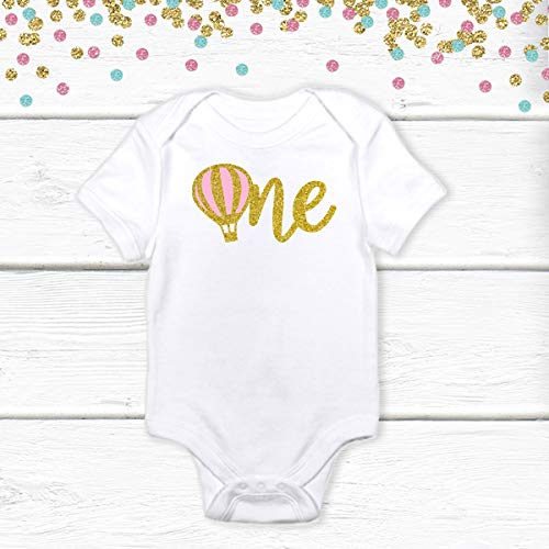 1 pc one hot air balloon 100% COTTON short sleeve babysuit bodysuit for first birthday boy girl champagne gold silver rose gold glitter hot air ballon up up & away theme