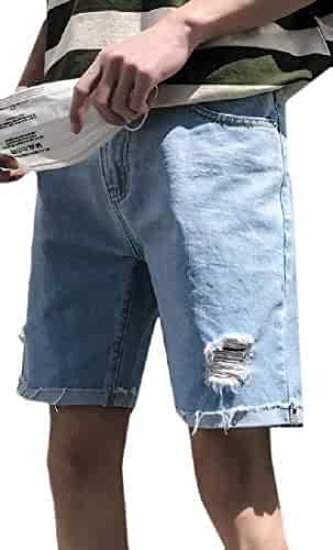 e2d14d07ce Joe Wenko Mens Baggy Short Pants Washed Faded Hole Summer Denim Shorts