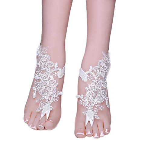 Kalolary Bridal Feet Jewelry, Bridal Summer Crochet Barefoot Sandals Lace Anklets ()