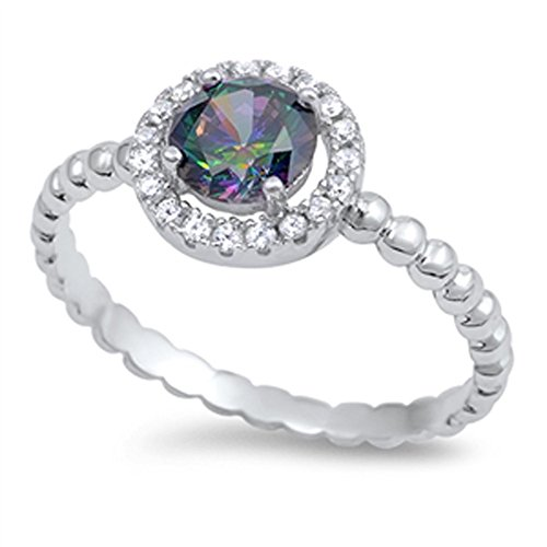 Rainbow Simulated Topaz Promise Halo Ring New .925 Sterling Silver Bali Band Size 10 (RNG15052-10)