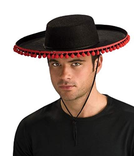 ADULT Spanish Costume Hat with RED Pom Poms (Pom poms are redder than appear in photo)