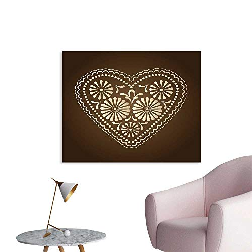 J Chief Sky Chocolate Wallpaper Sticker Romantic Heart Pattern with Dots and Flowers Love Valentines Day Illustration Personalized Wall Decals W36 ()