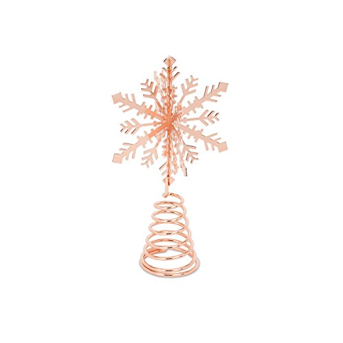 - Abbott Collection Rubedo Copper Plated 3D Snowflake Tree Topper