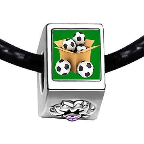 UEFA Euro 2012 soccer ball in the box Light Amethyst Crystal June Birthstone Flower Charm Bracelets