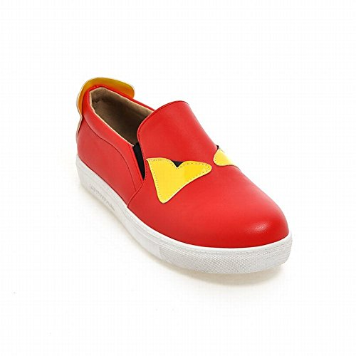 Carolbar Mujeres Cute Assorted Colors Cuff Casual Fashion Comfort Flats Zapatos Rojo