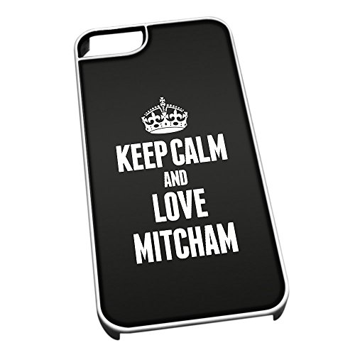 Bianco cover per iPhone 5/5S 0440 nero Keep Calm and Love Mitcham