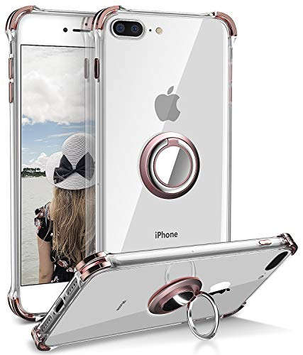 iPhone 8 Plus Case, Daupin Clear iPhone 7 Plus Case with 360 Rotatable Ring Kickstand Fit Magnetic Metal Car Mount Soft TPU Bumper PC Hard Back Protective Phone Case for iPhone 7/8 Plus (Rose Gold)