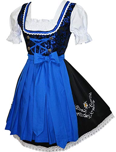 Edelweiss Creek 3-Piece Short German Oktoberfest Dirndl Dress Black & Blue (16)]()