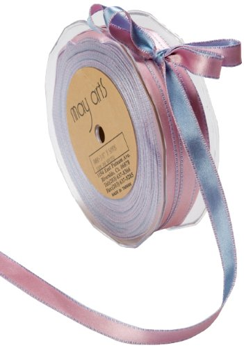 May Arts 3/8-Inch Wide Ribbon, Light Blue and Pink Satin