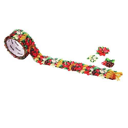 Bande Masking Roll Sticker Masking Tape Poinsettia Christmas leaves for Scrapbooking DIY (BDA259) ()