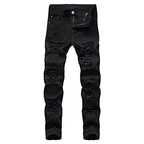 (TIMEMEANS Men's Casual Autumn Denim Cotton Straight Ripped Hole Trousers Jeans Pants Black)