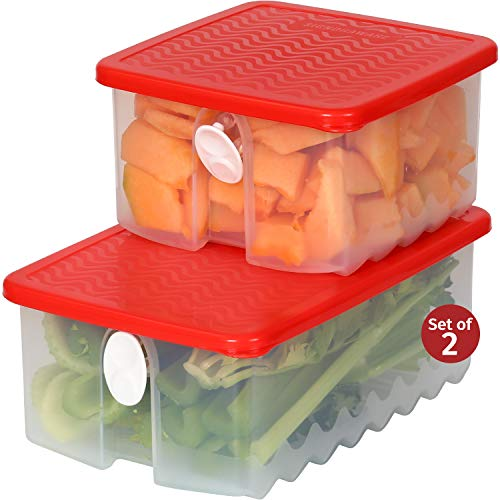 Fresh Fruit and Vegetable Food Keeper Saver Storage Container with Air Vented Lids Produce Keeper Dishwasher, Freezer, Refrigerator-Safe - 100% Food-Safe, BPA-Free Plastic Organizer (Combo)