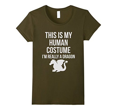 Really Really Scary Costumes (Womens Human Costume I'm Really A Dragon Funny Halloween T-shirt XL Olive)