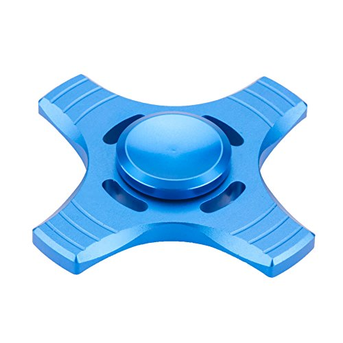 Fidget Spinner High Speed Stainless Steel Finger Spinner Bearing Hand spinners fidget Toy for Adults Kids for Relieving Stress Anxiety ADHD Focus Boredom (4 Leaves Blue)