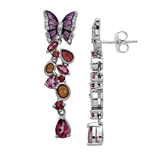 2 1/3 ct Natural Rose Mystic & White Topaz Butterfly Drop Earrings in Sterling Silver