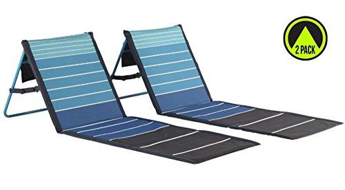 Lightspeed Outdoors 2-Pack Lounger Park and Beach Chair (Blue Stripes)