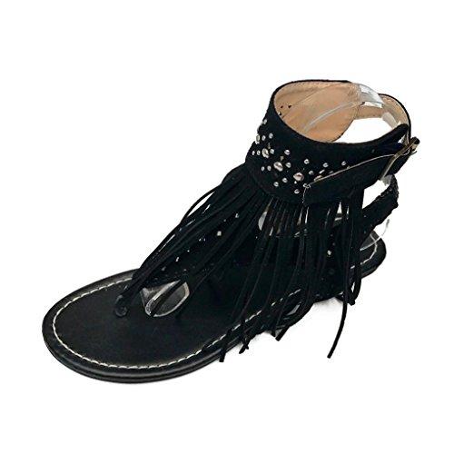 GBSELL Fashion Women Bohemia Tassels Thong Flat Sandals Flip Flops Shoes (Black, (Detail Thong Sandals)