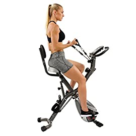 Sunny Health & Fitness Foldable Magnetic Exercise Total Body Bike with Resistance Bands