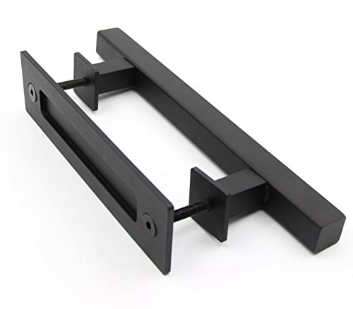 "PENSON & CO. 12"" Square Pull and Flush Door Handle Set in Black Sliding Barn Door Hardware with Mount Screws Included by PENSON & CO."