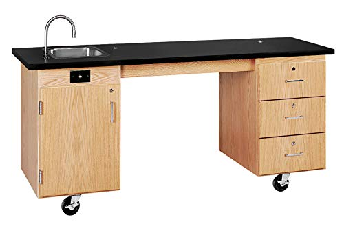 Diversified Woodcrafts 4352K UV Finish Solid Oak Wood ADA Compatible Mobile Lab Station with ChemGuard Top, 72