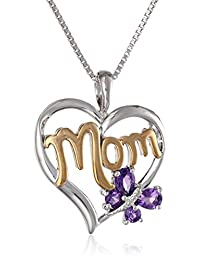 """Sterling Silver and 14k Gold Gemstone with Diamond-Accent Butterfly Mom Heart Pendant Necklace, 18"""""""