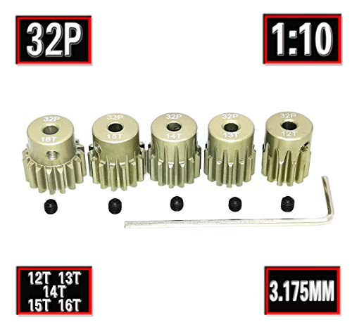 RC 32P 3.175mm Pinion Gear Set 12T 13T 14T 15T 16T Tooth with Screwdriver for 1/10 1:10 RC Car Upgrade Aluminum Pinion Gear by MakerDoIt