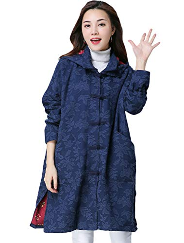 Minibee Women's Loose Button Hoodie Coat Long Quilted Trench Jacket Chinese Traditional Frog with Pockets Navy Blue 2XL