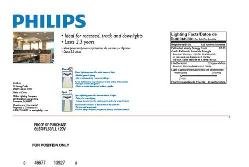 046677139278 - Philips 139279 Soft White 65-Watt BR40 Indoor Flood Light Bulb, 2-Pack carousel main 1