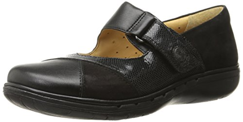 Clarks Women's Un Swan Mary Jane Flat, Black Combination Leather, 5.5 M US by CLARKS