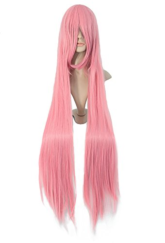MapofBeauty Long Cosplay Party Pink Straight Wig 100cm (Adult Princess Bubblegum Costume)