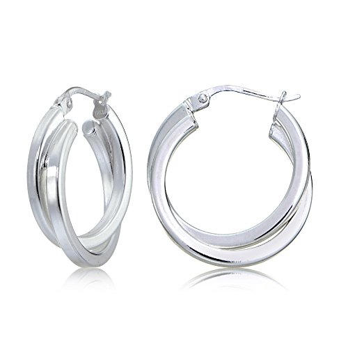 - Sterling Silver Square-Tube Double Twisted 20mm Round Hoop Earrings