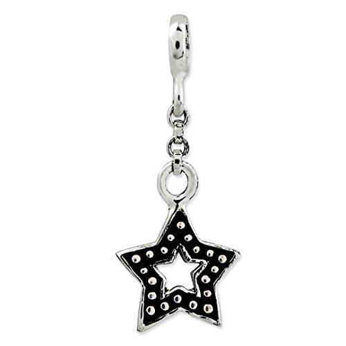 ICE CARATS 925 Sterling Silver Enameled Star 1/2in Dangle Enhancer Necklace Pendant Charm Celestial Fine Jewelry Ideal Gifts For Women Gift Set From Heart by ICE CARATS