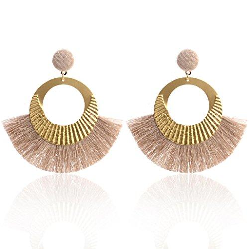 Hot Sale! Paymenow Women Girls Vintage Ethnic Tassel Circle Drop Earrings Fashion Stud Earrings Dangle Jewelry (Khaki)