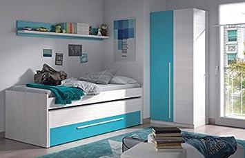Dormitorio juvenil completo, color Blanco Line y Azul, Cyan: Amazon.es: Hogar