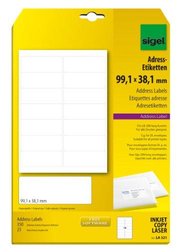 Sigel LA321 Adress-Etiketten weiß, 99,1 x 38,1 mm, 350 Etiketten = 25 Blatt, abgerundete Ecken
