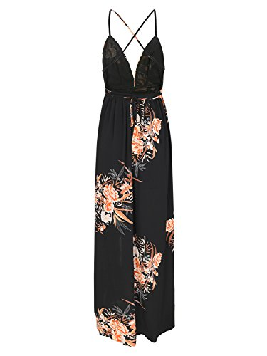 Women's Dress Dress Beach 2 Backless Floral Boho Black Sexy Maxi BerryGo Split awzxdqCd