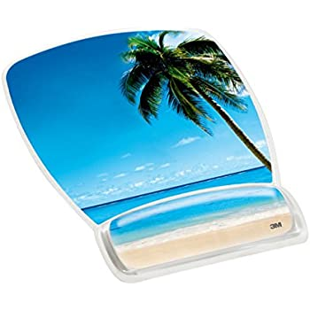 3M Precise Mouse Pad with Gel Wrist Rest, Soothing Gel Comfort with Durable, Easy to Clean Cover, Optical Mouse Performance, Fun Beach Design (MW308BH)