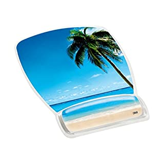 """3M Precise Mouse Pad with Gel Wrist Rest, Soothing Gel Comfort with Durable, Easy to Clean Cover, Optical Mouse Performance, Fun Beach Design (MW308BH), Blue Beach,9""""7.5"""""""