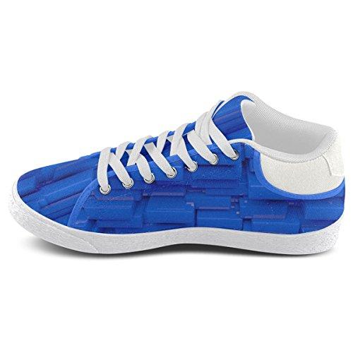 Artsadd Brillante Azul Cubica Los Zapatos De Lona De Chukka Para Las Mujeres (model003)