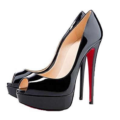 Amazon.com | San Hojas Peep Toe Sandals Women Red Bottom High ...