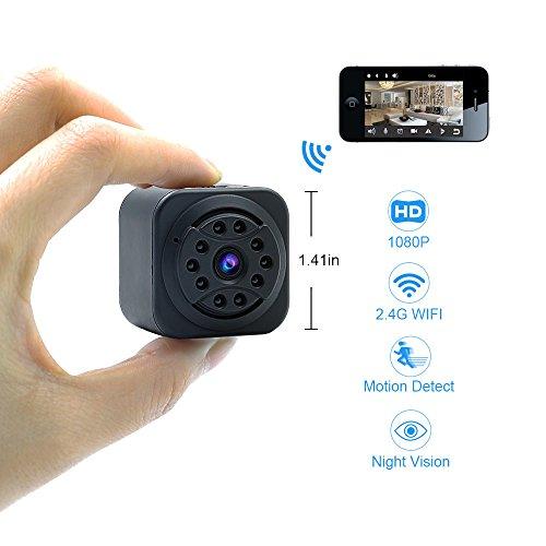 Hidden Camera,EOVAS Mini Wifi Camera - Spy Camera - HD 1080P Wireless Surveillance Security Camera - Nanny Camera - Support APP Remote View for android and IOS - Black