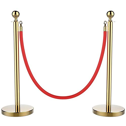 - Yaheetech Stanchions and Velvet Ropes Ball Top Stainless Steel Stanchions Posts with 6.5ft Red Velvet Rope,Crowd Control Stanchions,Gold