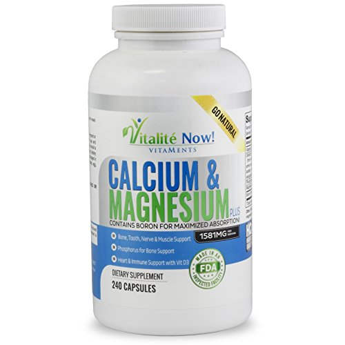 Best Calcium & Magnesium + Vitamin D3 400 IU - Highly Absorbable with Boron - 10 Forms of Calcium + Phosphorus for Bone Strength - All Natural - 240 Capsules ()